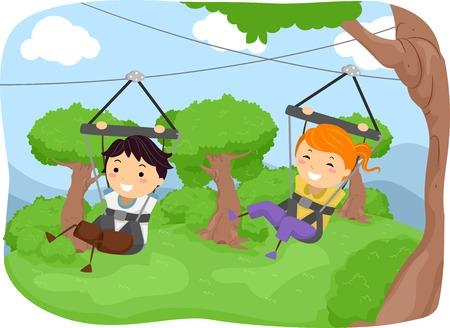 Illustration Featuring Kids Sliding Down a Zipline