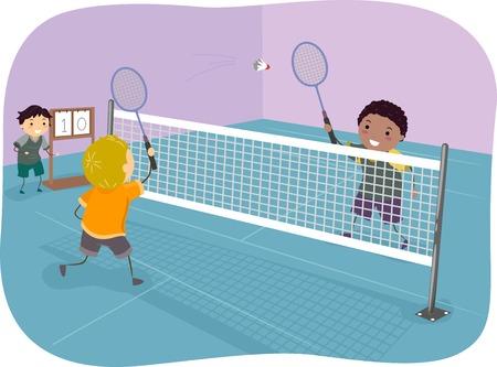 Illustration Featuring Boys Playing Badminton
