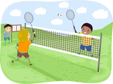 individual sport: Illustration Featuring Kids Playing Badminton
