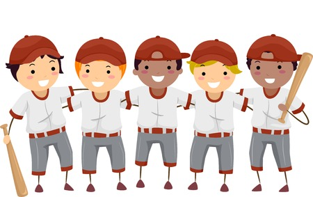 baseball cartoon: Illustration Featuring a Team of Baseball Players