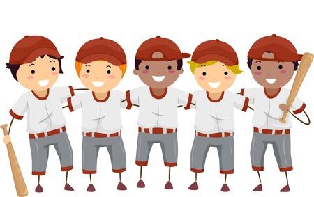 Illustrazione con una squadra di giocatori di baseball Vettoriali