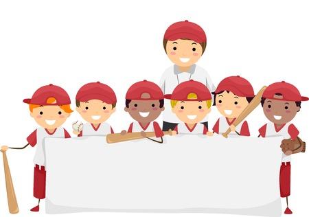 deportes colectivos: Ilustraci�n con un equipo de b�isbol de los jugadores j�venes sosteniendo una bandera en blanco