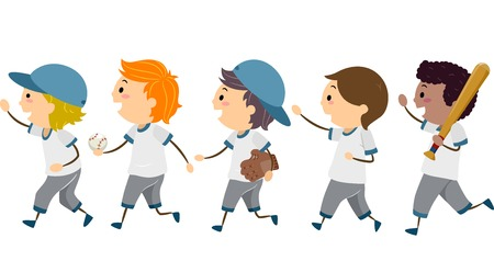 featuring: Illustration Featuring a Group of Young Baseball Players Walking Across the Street