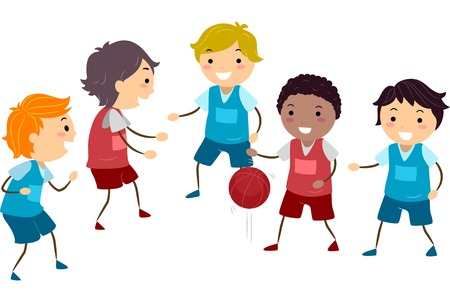 Illustration Featuring a Group of Boys Playing Basketball