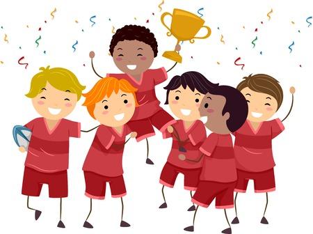 pelota rugby: Ilustración con un grupo de niños que celebran su Campeonato Win
