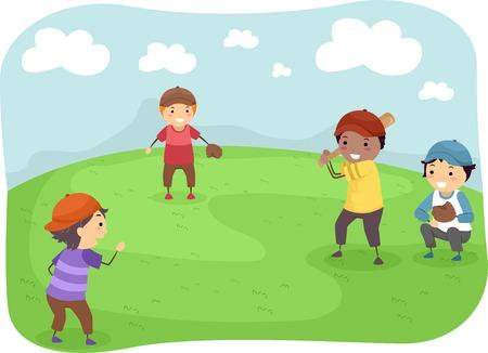 소년 야구를하는 그룹을 갖춘 그림