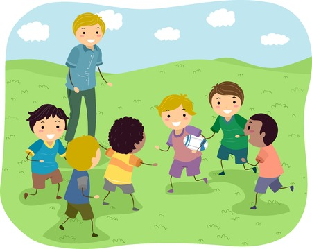 boys cartoon: Illustration Featuring a Group of Boys Playing Rugby in a Park