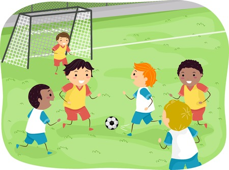 Ilustración con un grupo de muchachos que juegan a fútbol Foto de archivo - 31689305
