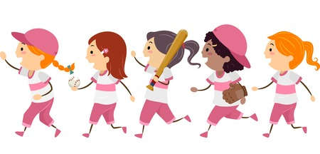 walking stick: Illustration Featuring a Group of Girls Dressed in Basebal Gear Walking Across the Street