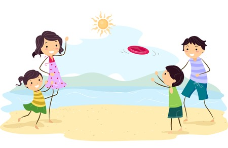Illustration Featuring a Family Playing by the Beach