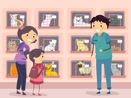 animal shelter: Illustration of a Family Visiting a Cat Shelter