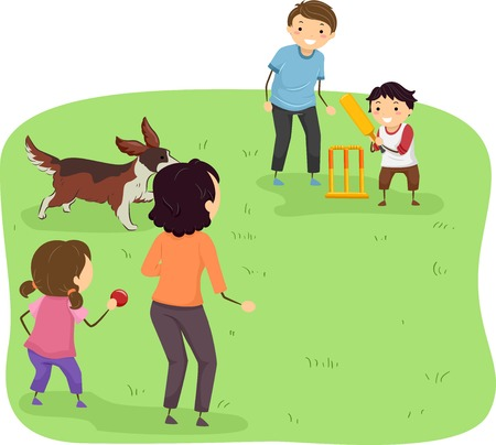 dogs playing: Illustration Featuring a Family Playing Cricket at a Park Illustration
