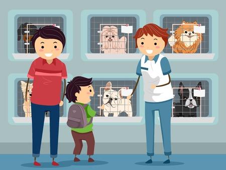 Ilustración de una familia visita a un perro del refugio Foto de archivo - 31689325