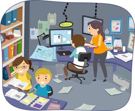 Illustration of a Family Conducting Experiments in a Room Vector