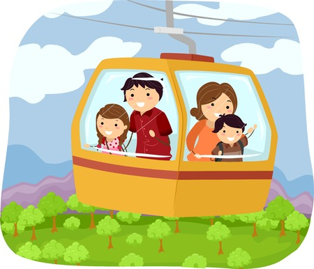 cable car: Illustration Featuring a Family in a Cable Car Checking Out the Forest Below