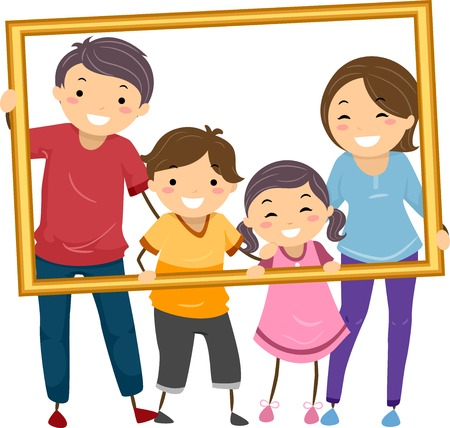 female portrait: Illustration Featuring a Happy Family Holding a Hollow Frame