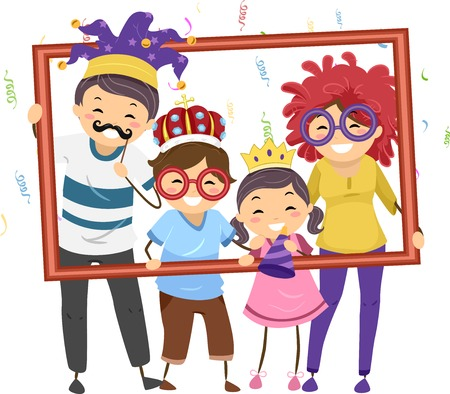 Illustration Featuring a Family in Party Costumes Holding a Hollow Frame