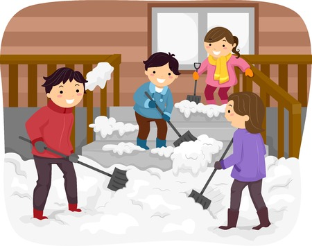 Illustration Featuring a Family Shoveling Snow Illustration