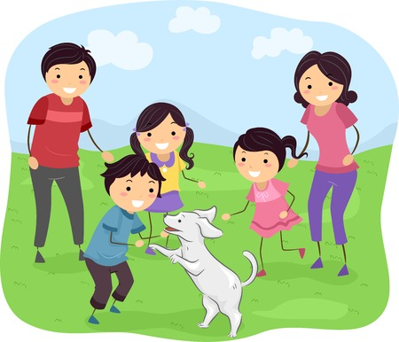 bonhomme allumette: Illustration Dot� d'une famille Jouer avec son chien Illustration