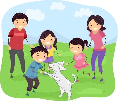 perro familia: Ilustración que ofrece una familia que juega con su perro Vectores