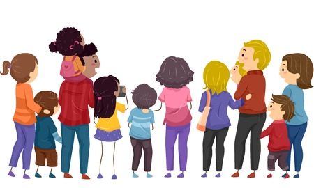 family: Back View Illustration Featuring Groups of Families Watching an Event