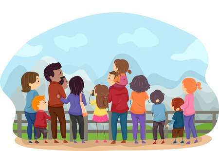 back view man: Back View Illustration Featuring Families Enjoying the Scenery