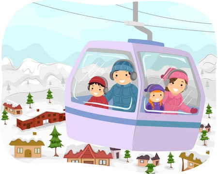 Illustration Featuring a Family in a Cable Car Checking Out the Snowy Slopes Below Vector