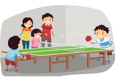 Illustration Featuring a Family Playing Table Tennis