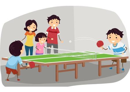 ping pong: Ilustración que ofrece una familia que juega tenis de mesa