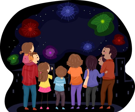 Illustration Featuring Families Watching a Fireworks Show Together Vector