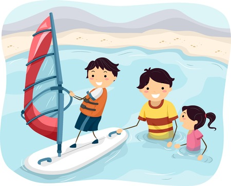 Illustration Featuring a Father Teaching His Kids How to Windsurf Çizim