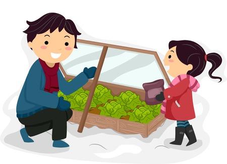 Niños ayudando: Ilustración que ofrece un Padre e hija que tienden a su jardín de invierno