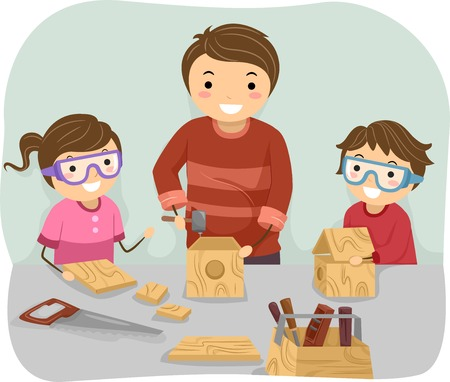 teaching adult: Illustration of a Father Teaching His Kids How to Do Woodwork