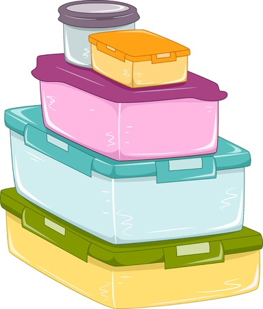 Illustration Featuring a Stack of Food Containers