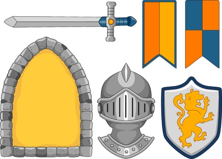 used items: Illustration Featuring Items Typically Used by Knights