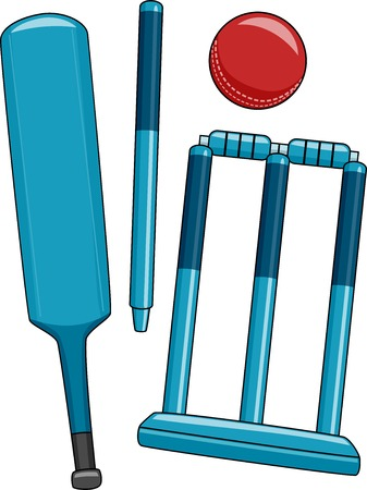 Illustration Featuring Different Equipment Used in Cricket Vector
