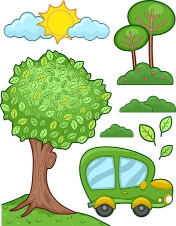 alternative living: Illustration Featuring a Car Runnin on Biofuel
