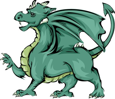Illustration Featuring a Green Dragon Vector