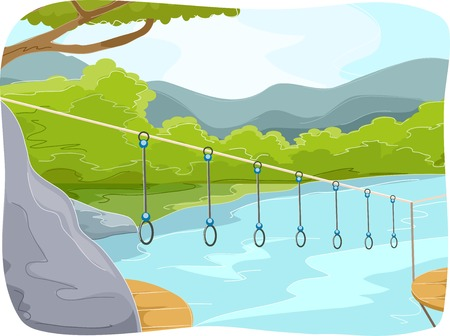 obstacle course: Illustration Featuring an Obstacle Course at a Summer Camp