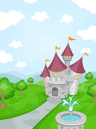 garden fountain: Illustration Featuring a Fountain with a Castle in the Background