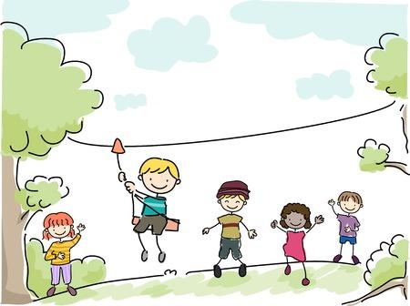 Illustration Featuring Kids Riding an Improvised Zipline 일러스트