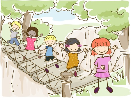 Illustration Featuring Kids Crossing a Hanging Bridge Vector