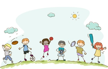kids playing sports: Illustration Featuring Kids Playing Different Sports