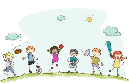 girl illustration: Ilustraci�n con ni�os jugando Diferentes Deportes Vectores