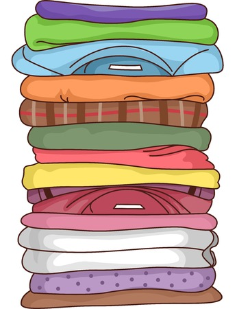 Illustration Featuring a Pile of Folded Clothes