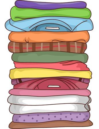 lavanderia: Ilustración que ofrece una pila de ropa doblada Vectores