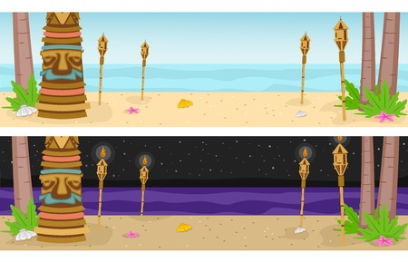 Banner Illustration Featuring a Beach Resort with a Hawaiian Theme