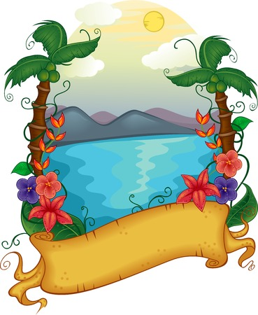 Illustration Featuring a Banner with a Hawaiian Theme Vector