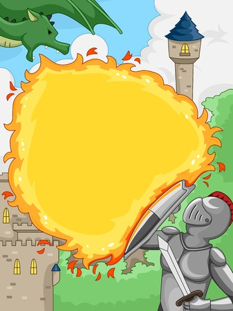 Illustration Featuring a Knight Shielding Himself Against a Dragons Fiery Attack Illustration