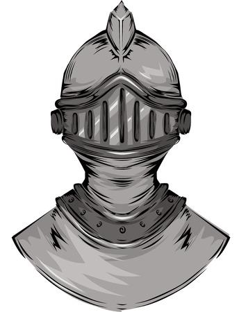 edad media: Ilustración con el casco de un caballero